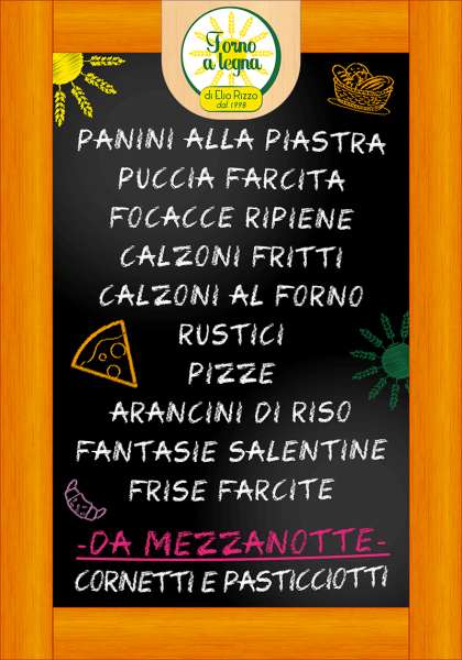 Manifesto Menu Forno Rizzo